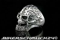 Totenkopfring Tattoo Flammen Skull Gothic 925 Silber Ring Herren Schmuck Biker