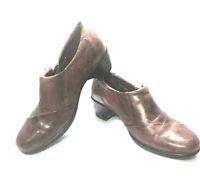 CLARKS Bendables Women's Shoes 6.5M BROWN LEATHER UPPER Career Heels