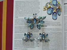 Vintage Blue Butterfly Brooch Earring Set Mid Century Jewelry Blue Lady Go Blue