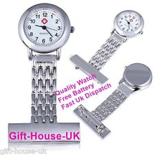 Quality Stainless Steel Silver Metal Nurse Brooch Tunic Fob Watch NHS Design2
