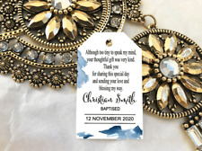 10 Gift Tags Baptism Christening Bomboniere Personalised Boy Thank you