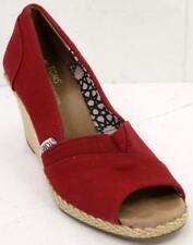 Toms Canvas Wedges Open Toe Slip On Red Shoes Women��s Size 8.5 M