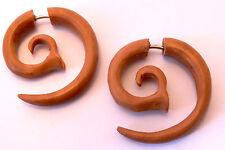 Faux Ecarteur Boucles d'oreilles Piercing Bois Gauge Wooden Fake spirale 2