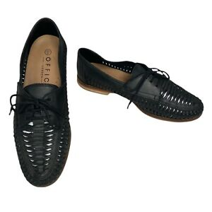 OFFICE London Mens Black Leather Woven Loafers Size 8 UK