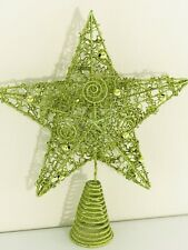 Tree Topper Christmas Glitter Green Star Spiral