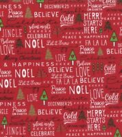 Christmas MODA Merry Starts Here 100% cotton fabric by the yard Red Words