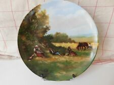 Giraud Plate Pattern Printed Animated of Peasants and Animals Porcelain Limoges