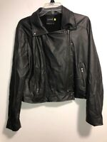 Lysse Womens Black Faux Leather Jacket Size Large Pre-Owned