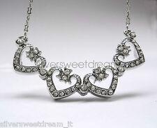 Collana CUORE brillanti cristalli zirconi argento Cerimonia RAGAZZA DONNA NOVITà