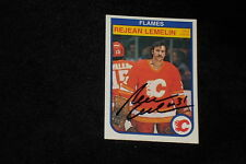 REJEAN LEMELIN 1982-83 O-PEE-CHEE SIGNED AUTOGRAPHED CARD #50 FLAMES