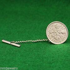 Tie Tack, British Sixpence Coin, QE2 English UK Lapel Pin, Tudor Rose, Shamrock