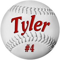 "2- 4"" Baseball Decals Stickers Personalize Text Gifts Girls Boys Teams Sports"