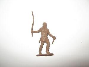Marx robin hood original castle figures 54 mm dark brown with long stick.1950's