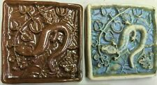 New listing 2 handmade colorful glazed 3d ceramic tiles salamander amphibian Usa Lot #15