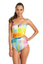 $160 Trina Turk Crystal Cove Sunset Ombre Print Bandeau One Piece Swimsuit