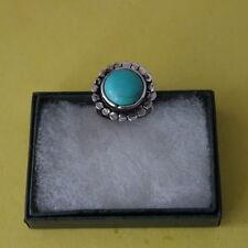 BELLISSIMO ALLA MODA ANELLI con Tibetan Silver e creato Turchese 5.2 G Taglia P