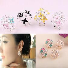 Charm 1 Pair Women Lady Elegant Flower Pearl Rhinestone Ear Stud Earrings Hot