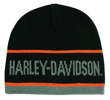 Harley-Davidson Men's H-D Script Striped Knitted Beanie Cap, Black KNCUS027030
