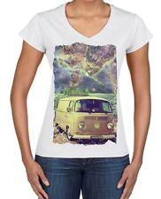 Ganja Bus Cannabis Large Print Women's V Neck T-Shirt - Weed Camper