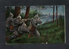 1915. A GERMAN PATROL IN ACTION. WW1 CENSORED COLOR PC. K.D FIELDPOST D/S.