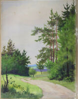 Gustav Müller Aquarell Föhren am Waldrand Weg nach Streitberg Birkenreuth 1970