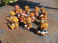 Lot of 15 Small Christmas Brown Bear Resin Popcorn Spaghetti Style Ornaments