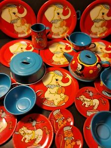 VTG 1940's-50's Litho Ohio Art Child's Tin Tea Set #158 Circus Elephants 24 Pcs