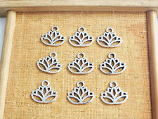 20 x Lotus Flower Head Meditation Yoga Tibetan Silver Charms Pendants Beads