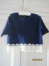 TopShop Petite Ribbed Navy Blue Short-Sleeved Top with Lace Trim (Size 6)