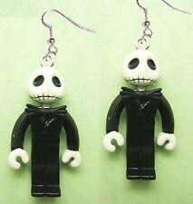 Funky Zombie JACK SKELLINGTON EARRINGS-Gothic Mini Figures Charm Costume Jewelry