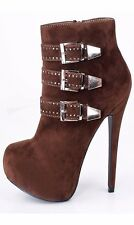 Winter Womens Suede Shoes Rhinestone Buckles High Heel Platform Ankle Boots size