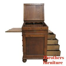 Antique Tiger Oak Davenport Ships Writing Desk Cabinet