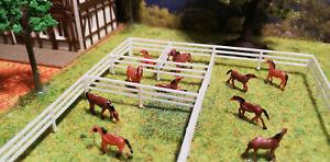 Koppelzaun mit Koppeltor |  Spur TT 1:120 | Pferdekoppel | über 65 cm länge