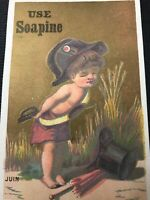 vintage advertising Trade Card French Laundry Soaping Little Soldier Boy Juin