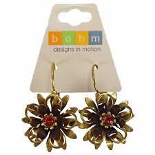 Bohm Dangle Fashion Drop Flower Antiqued Gold Earrings Leverbacks