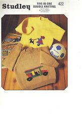 Studley Five-in-One DK KNITTING PATTERN sweater with car motif/girl motif 422