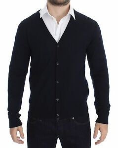 GALLIANO Sweater Blue Wool Button Down Logo Cardigan Pullover Top S. S