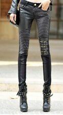 SEXY jeans neri a strisce con cerniere e inserti pelle sintetica SteamPunk L