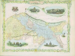 """1850 RARE Original Antique Map of """"NORTHERN INDIA"""" by TALLIS FULL COLOUR (53)"""