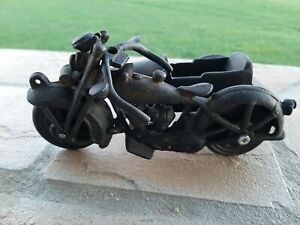 Black Cast Iron Motorcycle with Sidecar Pan Head 8 Inches  Harley Indian BMW