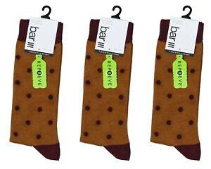 Bar III 3-Pair Pack Polka Dot Men's Socks One Size NWT Brown / Wine