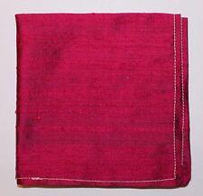 Hankie Pocket Square Handkerchief 100% SILK DUPION SHOT EFFECT CERISE  - UK Made