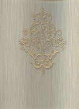 Carta da parati design classico con decori di colore oro lucido su fondo effetto