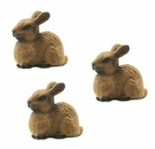 Miniature Dollhouse Fairy Garden Set of 3 Tiny Brown Rabbits - Buy 3 Save $5