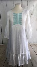Noa Noa Dress Tunic Linen Green White Boho Embroidery Size: S/36  UK10 RRP:€109
