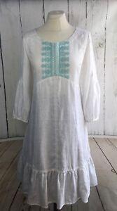 Noa Noa Dress Tunic Linen Green White Boho Embroidery Size: L/40  UK14 RRP:€109