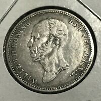 1849 NETHERLANDS SILVER 25 CENTS SCARCE COIN