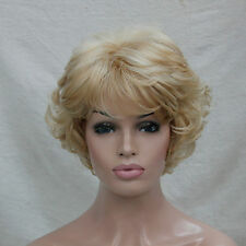 Women's Wig Wavy Curly Golden Blonde mix blonde  Short Synthetic Hair Full Wig