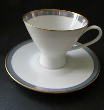 "Rosenthal Gala Blue CLASSIC ROSE Footed Cup & Saucer 3"" Tall  Loewy Mid Century"