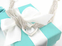 "Tiffany & Co Multi Strand Toggle Heart Mesh 16"" Necklace Box Pouch Card"